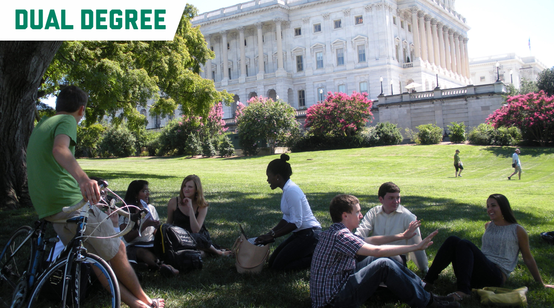 Dual Degree; Students sitting on grass in Washington, DC