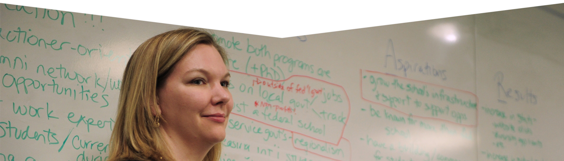 Image of white female in front of a whiteboard with many brainstormed words
